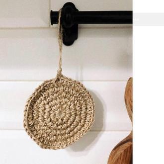 Мочалка для посуды из джута, джутовая мочалка, натуральная мочалка, мочалка з джуту, натуральна