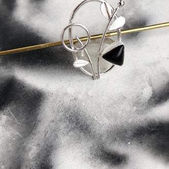 Кольцо «Веточка» из серебра с ониксом