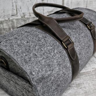 Войлочная дорожная сумка Tube v2 коричневая