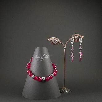 Комплект украшений из сердолика,шпинели и серебра 925 пр.