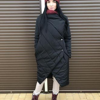 Асимметричное теплое пальто на кнопках