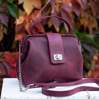 Кожаная сумка-саквояж «София» в бордовом цвете