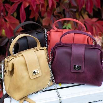 Кожаная сумка-саквояж «София» в 5 цветах кожи на выбор