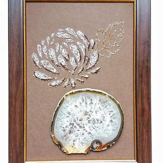 Хризантема і морозний агат Картина з натуральних каменів