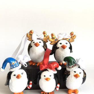 Набор из 5-ти Веселых Пингвинов, елочные игрушки