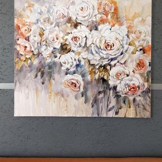"""Акварельная живопись """"Розы белые"""".Букет"""