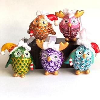 Набор из 5-ти веселых сов. Елочные украшения. Новогодний декор