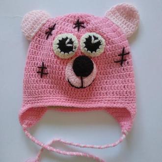 """Шапка. Зверо шапка. Шапка для малышей. Шапка """"Розовый мишка"""". Теплая шапка."""