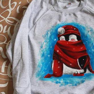 Теплый свитшот с рисунком ′Пингвин в шарфе′