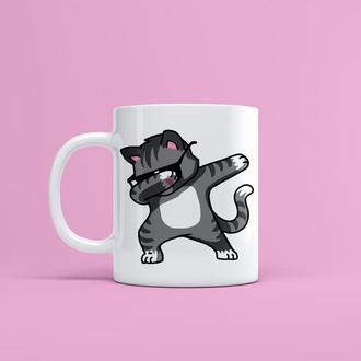 """Чашка с принтом """"Модный кот"""""""