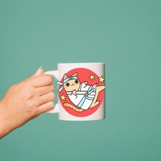 """Чашка с принтом """"Кот-каратист"""""""