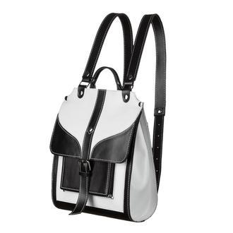 Кожаный черный белый рюкзак