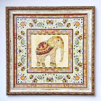 Індійський слон Картина з натуральних каменів Декор на стіну