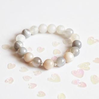 Женский браслет из солнечного камня и агата, серебряные украшения из натуральных камней