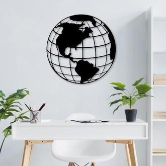 Деревянная картина World map