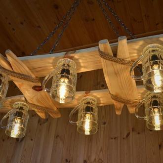 Светильник из дерева для беседки, садового домика, летней площадки.