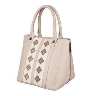 Большая кожаная женская бежевая сумка