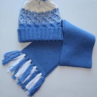 Детский вязаный комплект (шапка и шарф)
