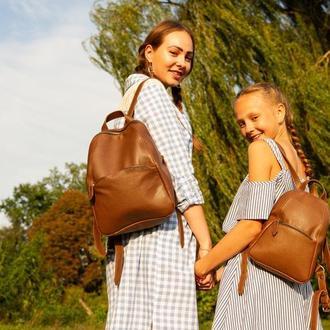 Коричневый женский кожаный рюкзак Family Look