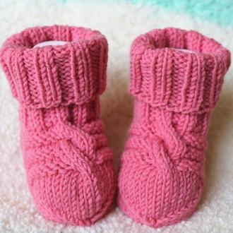 Розовые носочки из овечьей шерсти 100%