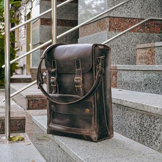 Мужская сумка мессенджер на плечо, Кожаная коричневая сумка