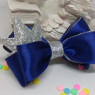 Синий бант-заколка для маленькой принцессы