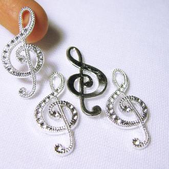 Скрипичный ключ металлиечская серебристая подвеска для кулона, браслета