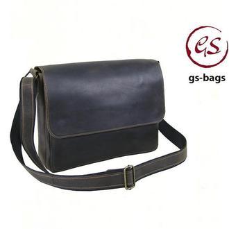 Кожаная мужская сумка - мессенджер для документов А4 коричневая