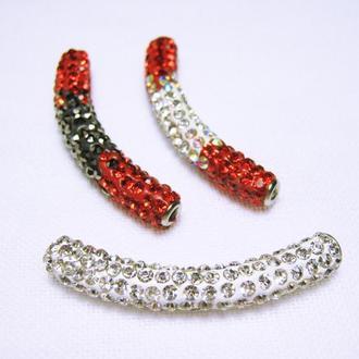 Бусина трубочка стиль Пандора Шамбала со стразами для браслета или колье