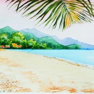 Картина Акварель, Остров в Тайланде, голубой, зеленый