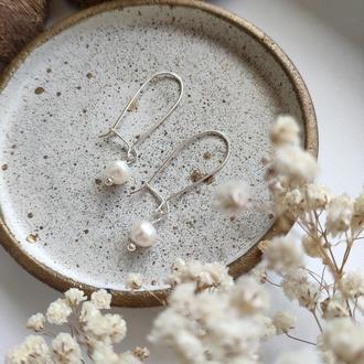 Серебряные серьги с натуральным речным жемчугом