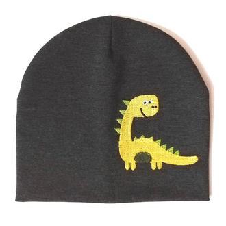 """Детская демисезонная шапка с вышивкой """"Yellow dinosaur"""""""""""
