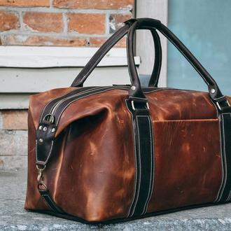 Коричневая дорожная сумка, Кожаная спортивная мужская сумка