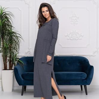 Стильное платье из натуральной ткани на флисе