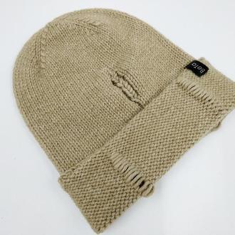 Трендовая женская шапка Luxury рвань, шапка рванка