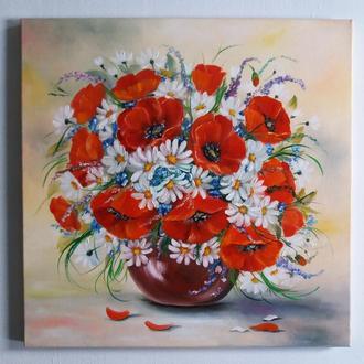 Картина маслом  цветы Маки