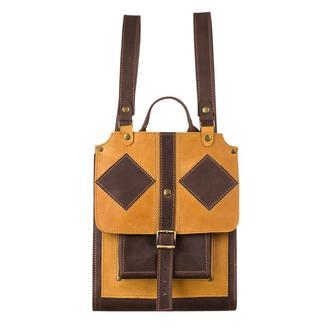 Большой кожаный желтый коричневый рюкзак