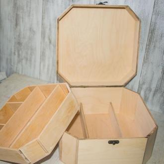Шкатулка восьмиугольная,органайзер для рукодельниц