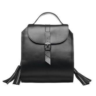 Черная кожаная женская сумка рюкзак