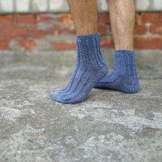 Мужские вязаные шерстяные носки серо синие
