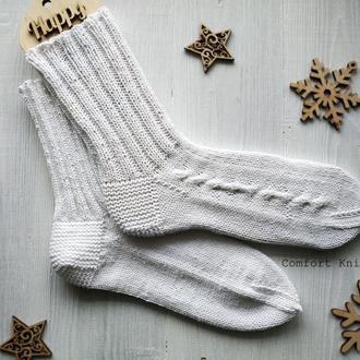 Белые хлопковые вязаные носки для женщин и мужчин (унисекс)