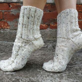 Вязаные шерстяные носки белые (ваниль) для мужчин и женщин (унисекс)