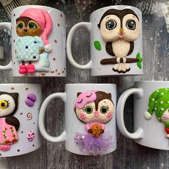 набор 5 чашек оптом, чашки оптом, кружки оптом, кружка с декором, чашка из глины, кружки на заказ,
