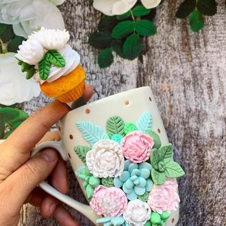 чашка с цветами, кружка с цветами