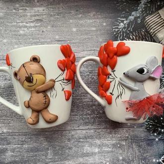 парные чашки, парные кружки, кружки с декором, оригинальные кружки, кружка медвежонок, чашка мышка