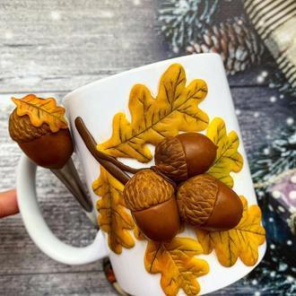 осенняя чашка, кружка с жолудями, чашка осень, кружка с кленовыми листьями, чашка с декором, кружка