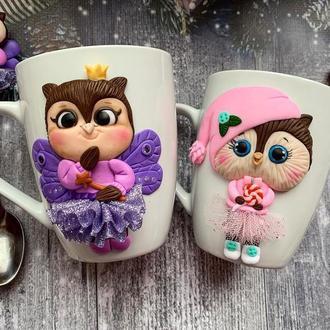 парные чашки, набор чашка ложка, набор кружка ложка, ложка с декором, кружка с декором,кружка на
