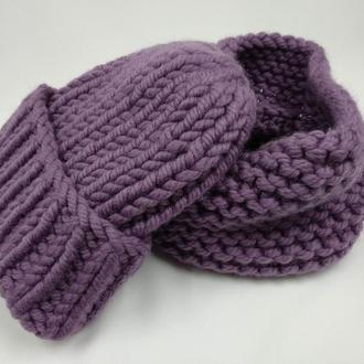 Зимовий жіночий комплект оверсайз, шапка і снуд великої в'язки, 100% м'яка шерсть