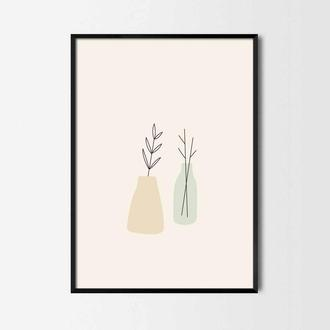 Графический постер Ветки в вазах