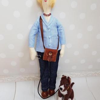Портретная кукла Тильда Татьяна с собачкой из шерсти